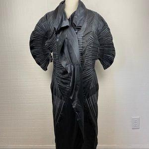 ISSEY MIYAKE Jacket Black Crinkled Gathered Pleat